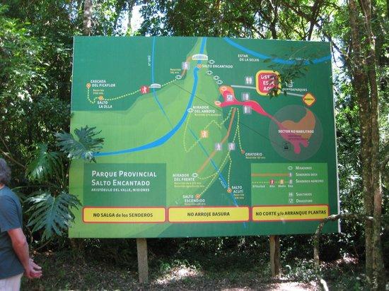 Salto Encantado: El diagrama de los senderos del Parque
