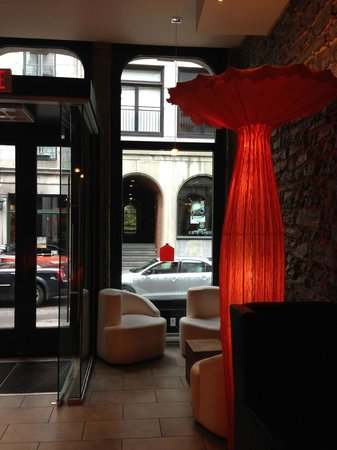 Le Petit Hotel: Mushroom floor lamp in Lobby: hip, chic, witty.