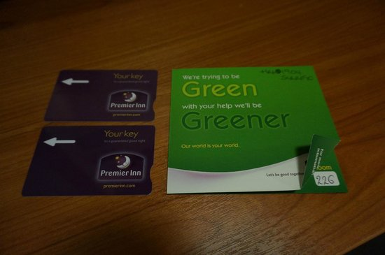 Premier Inn York City (Blossom St South) Hotel: The Room cards