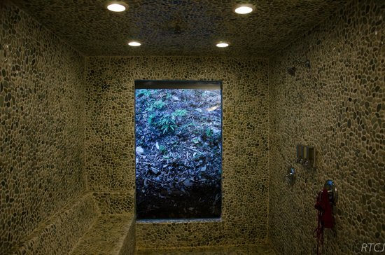 Belcampo Lodge : Awesome Bathroom with jungle veiw