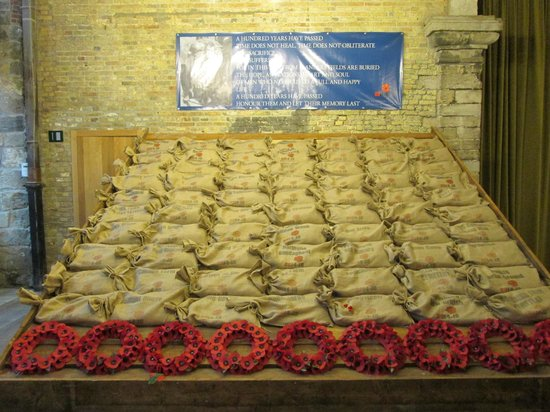 In Flanders Fields Museum: Seventy sandbags filled with soil waiting to go to London