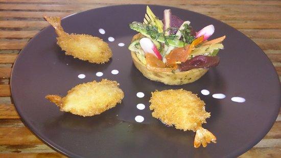 Art des Choix: tarte legumes et gambas panèes