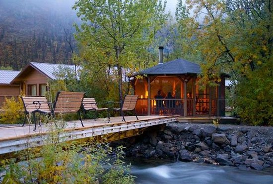 Denali Backcountry Lodge : Enjoy a crackling fire in one of our screened in gazebos