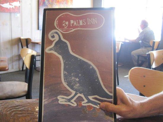 29 Palms Inn: Quails (Wachteln) sind das Logo