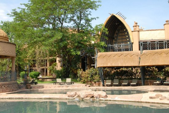 The Kingdom at Victoria Falls: the main hotel view from the swimming pool