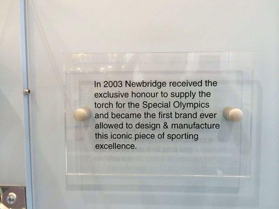 Newbridge Silverware Visitor Center: Special Olympics torch  plaque