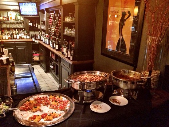 Toscana Trattoria: Appetizer area for Wine down Wednesday.