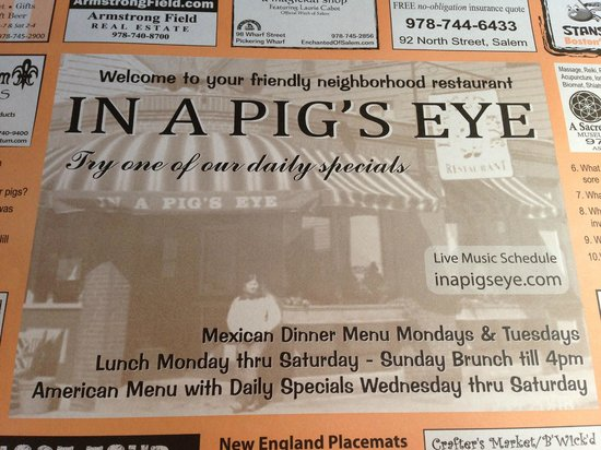 In a Pig's Eye: Local info placemat