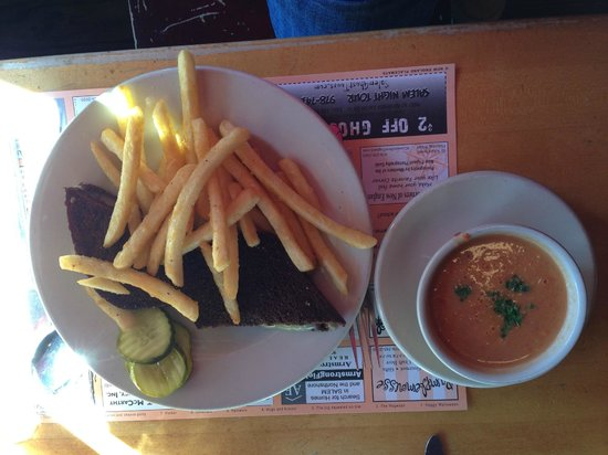 In a Pig's Eye: Grilled cheese on pumpernickel, fries and cup of homemade tomato soup