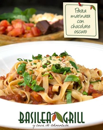 Basilea Grill y Casa de Chocolate: Pasta Marinara with a touch of dark chocolate and chile