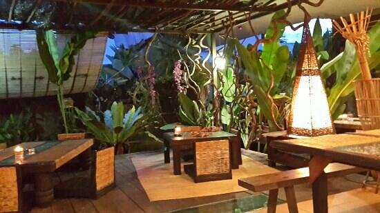Absolute Tribal: outdoor pond side dining area