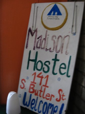 HI-Madison Hostel: Welcome sign
