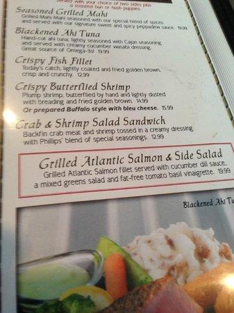 Phillips Famous Seafood: Menu