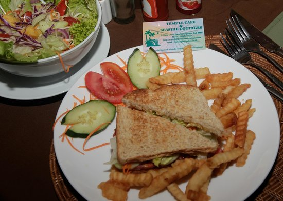 Temple Cafe & Seaside Cottages : Steak sandwich with crunchy chips