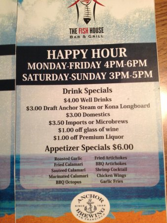 Happy hour menu picture of the fish house bar grill for The fish house menu