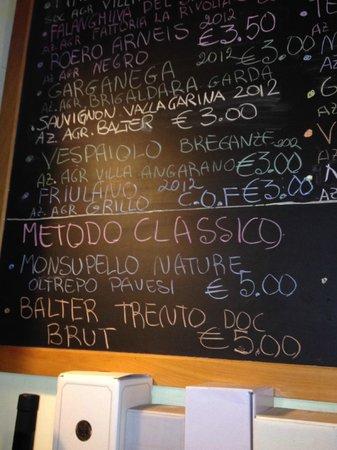 The Venetian Vine : The wine list at La Cantina