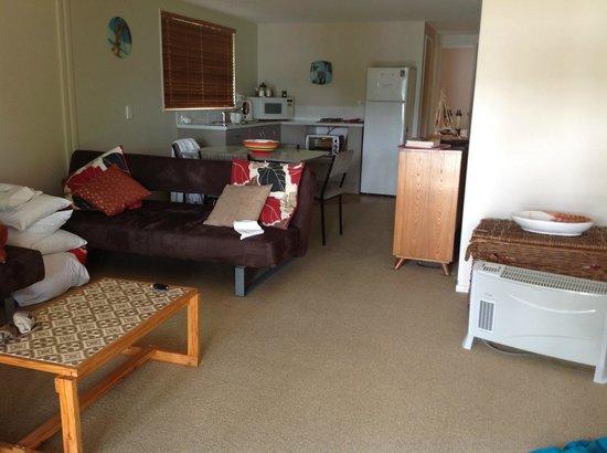 Akaroa on the Beach: Lounge room of ground floor one bedroom apartment