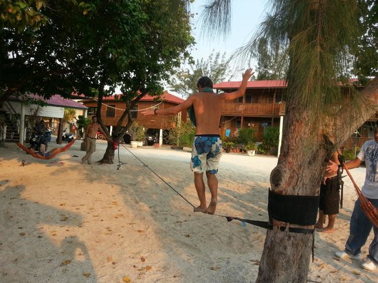 Trudy's Hotel: Tight rope line set up for fun