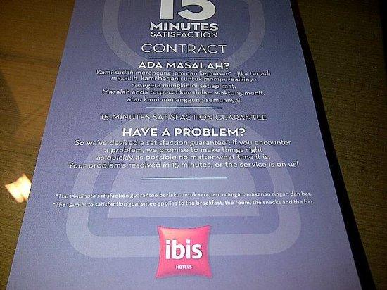 Hotel Ibis Yogyakarta Malioboro: 15 mins service warranty