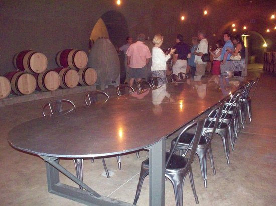 CADE Winery: Table made from a retired navy sub down in the winery