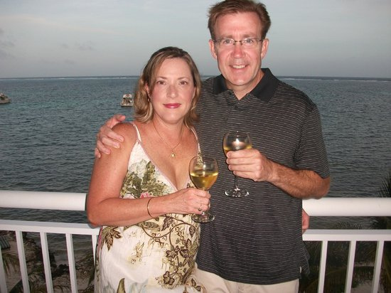 Compass Point Dive Resort: On the balcony the night of our 25th Wedding Anniversary