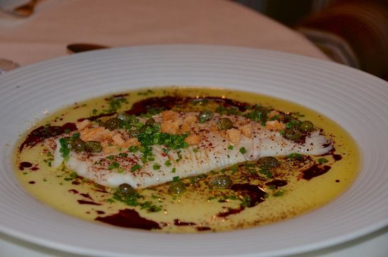 Restaurant maree: Tender ray wing with capers, brown garlic-butter, and crispy breadcrumbs.