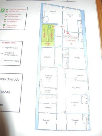 Bellevue House: План эвакуации, заодно и все номера на плане