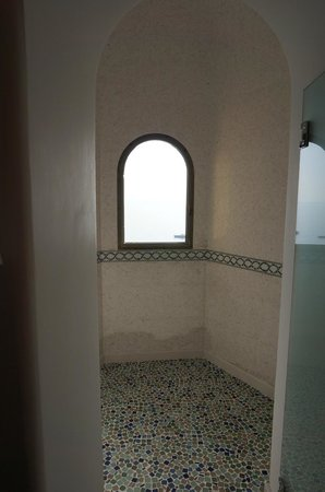 Hotel Buca di Bacco: shower was huge, waterfall on top and had a view of the sea!