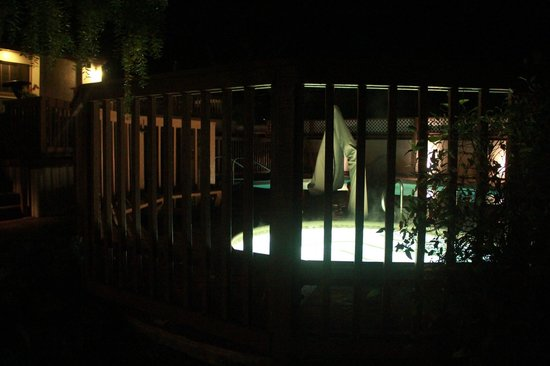Mariposa Inn and Suites: Hot tub at night