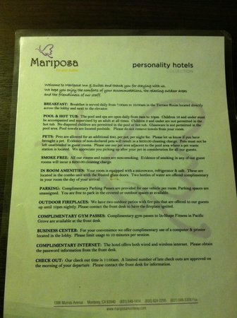 Mariposa Inn and Suites: Info sheet