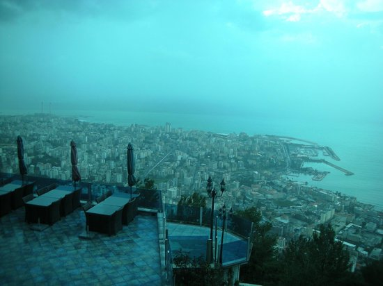 Bay Lodge Boutique Hotel: View of Jounieh bay from restaurant terrace