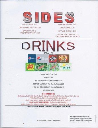 K.C.'s Place: Sides/Drinks