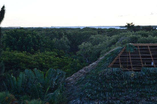 Laru Beya Resort & Villas : Looking west across the lagoon, rethatching almost complete, from Jabiru 303 hot tub deck.