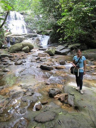 Jeanette (Volunteer at the Kebun) by local waterfall