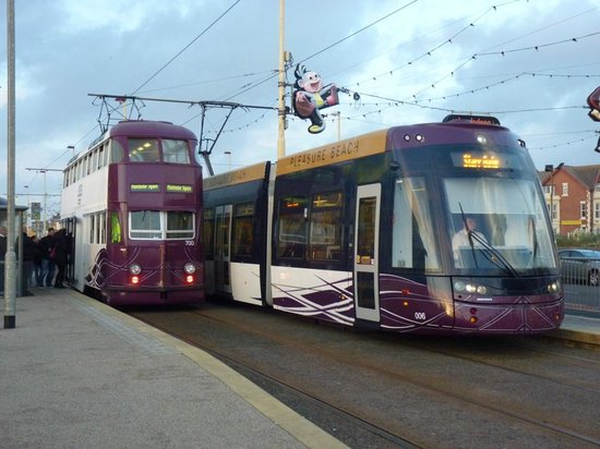 Blackpool Tramway: old and new trams