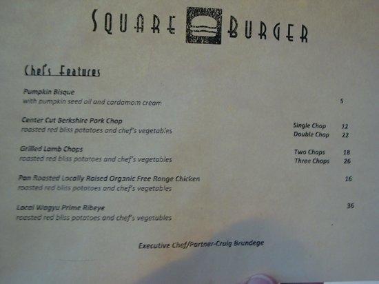 Square Burger: Lunch Menu