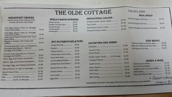 The Olde Cottage: Specials change from day to day. Baked Steak, Baked Chicken, Marzetti, Taco Salad, Grilled Chees