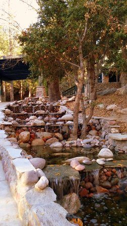 The Grand Idyllwild Lodge: Water feature along entrance