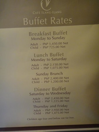 Cafe Ilang-Ilang: Price list