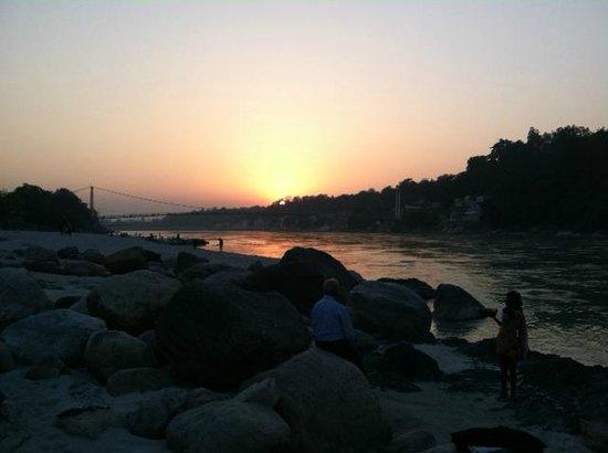 Sunset at the River Ganges near Ram Jhula bridge in Rishikesh