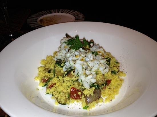 Amaranto Restaurant - Four Seasons Hotel London at Park Lane: calamari and couscous appetizer