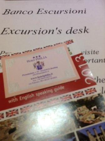 Hotel Philia : planning my escursion
