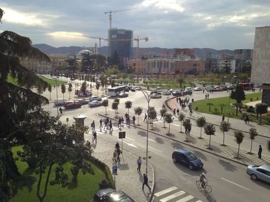 Tirana International Hotel & Conference Centre: View of main square from restaurant terrace