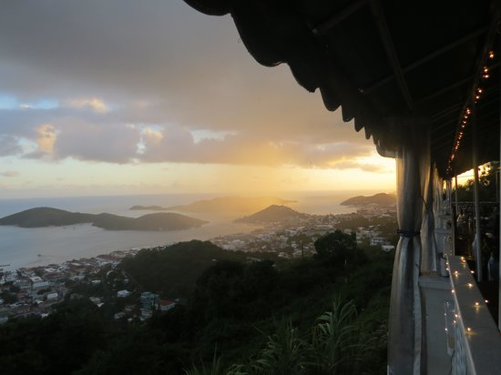 Mafolie Restaurant : Awesome view! Caught the rain in the distance!