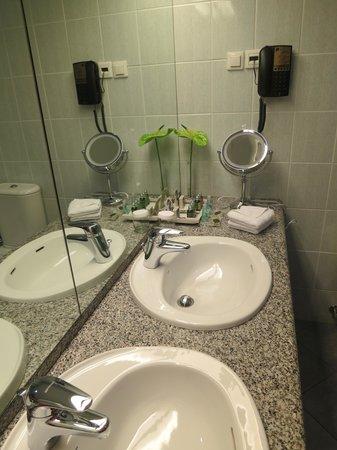 BEST WESTERN Premier Hotel Slon : Two sinks with a flower