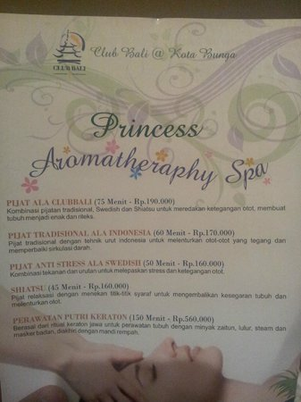 Club Bali Suites Kota Bunga : Princess Spa rates, the price is quite affordable and the staff are very friendly