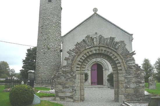 Castledermot Round Tower: Reconstructed Romanesque doorway from the 12th
