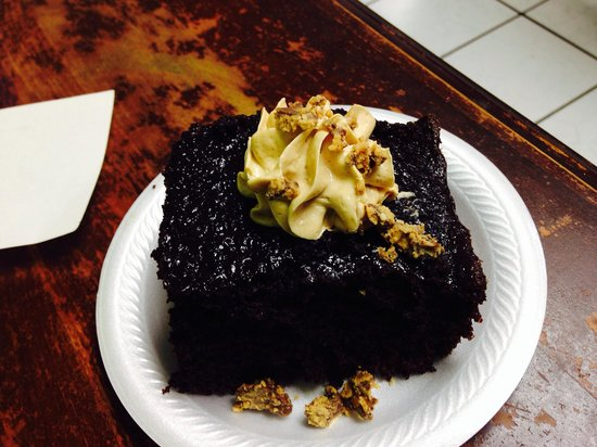 The Crazy Monkey Cafe : Chocolate cake with peanut butter frosting and Butterfingers pieces