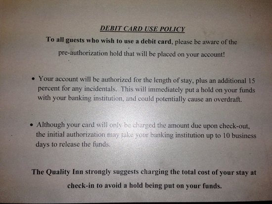 Quality Inn : this is the sign that GM says told us we would be charged double
