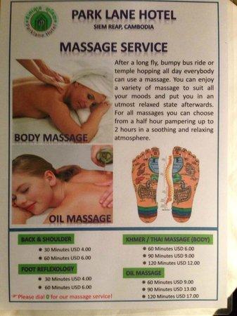 Parklane Hotel: Tarif Massage Hôtel
